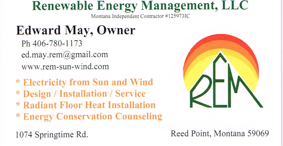 Renewable Energy Management located in Reed Point, Montana